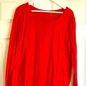 LOFT red long-sleeve cotton t-shirt - Size XL